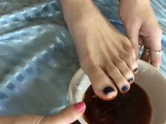 Foot fetish young lesbians suck each other's toes