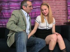 Oksana gets instructions from a horny old professor then sucks his pole