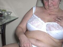 Filthy old granny diddles her twat in kitchen
