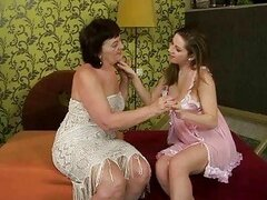 Ugly granny and hot teen enjoy lesbian sex