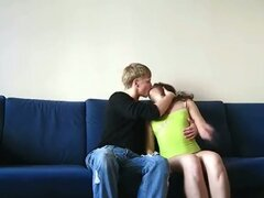 Thrill seeking lovely teen couple enjoying hardcore pounding on couch