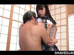 Japanese school nymph taking masters shaft...