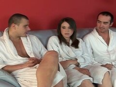 European girl fucked by two guys and swallows cum