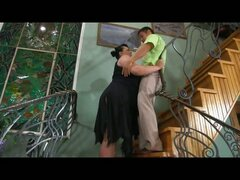Chubby mom gets her pussy prepared for deep penetration right on the stairs