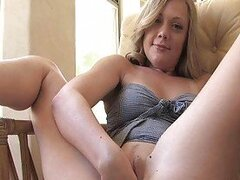 Drew horny blonde babe fingerng and fisting pussy