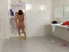 Naked guy in the shower with naughty chicks