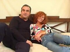 Mature pair doing a home video