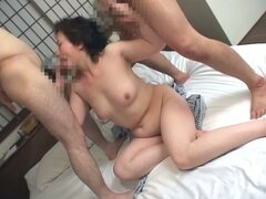 Naughty japanese granny takes two fresh cocks...