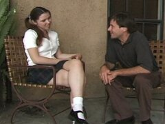 Brunette school girl visits a friend for some cock
