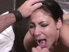 Slender brunette Delicia is swallowing very tasty urine