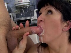 Mature brunette Sofi gets fucked from behind in the kitchen