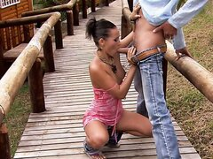 Hot Sonia Red gives blowjob outdoors