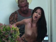 Big and brutal man fucks slutty Randi Wright in public