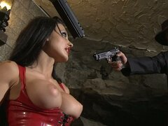 Dark mistress Aletta Ocean uses her magic forces to reach orgasm