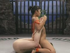 Pale Brunette Bitch Wrestles Skinny Hot Asian Chick