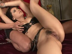 Wearing leather underwear Asian chick Maria Ozawa gets pleased by two cocks
