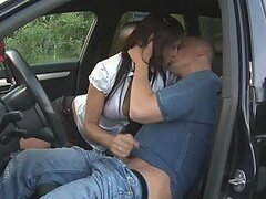 Busty Brunette Learns How To Drive & Fuck
