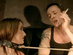 Brunette Whore Gets Tied Up & Forced To Orgasm