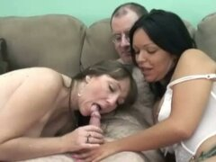 Swinging wives club with brooke and val sucking old guy's cock