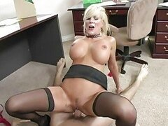 Busty blonde milf doing blowjob and getting pussy fucked hard
