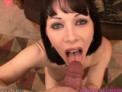 Hot and steamy POV blowjob action with naughty brunette momma