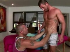 Amateur muscular gay guy give straight dudes ass a massage