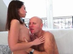 Young lady gets sexy rimjob from old guy