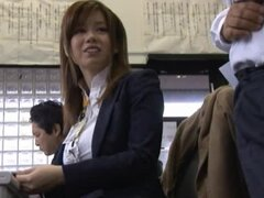 Kinky Japanese girl undresses in the office and shows her body