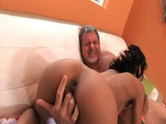 Two hard old dicks pound young pussy slut.