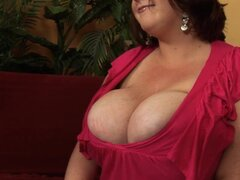 Redhead BBW Gets Cum All Over Her Huge Tits