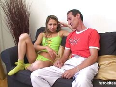 Glamorous teen fucked by her old well-hung teacher