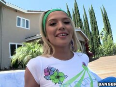 Sweet young teen Tiffany Fox showing her tits in her front yard