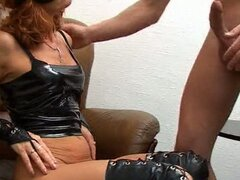 Blindfolded hot milf loves latex cock slamming