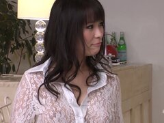 Gorgeous Japanese Kyouko Maki seduces two men in her kitchen