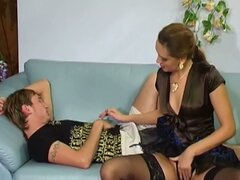 Young guy gets seduced by brunette milf