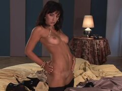 Solo play of mouthwatering chick in black stockings