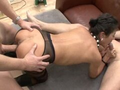 Mature German brunette enjoys hot MMF threesome indoors