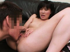 Lustful Asian milf with amazing tits gets down on her knees and displays her oral skills