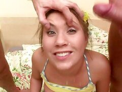 Two bored guys calls Olga and fuck her in the bedroom