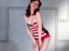 Nasty babe with red hairs Angela Ryan is a slender pin-up model