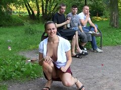 Sweet schoolgirl flashes in the park