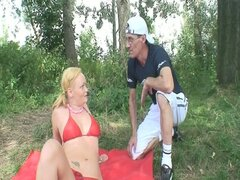 Filthy daddy finds horny young blonde bitch in forest then fucked