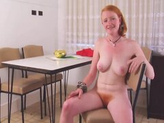 REAL REDHEAD ISADORA NICE PINK TITS HAIRY PINK RED BUSH 4