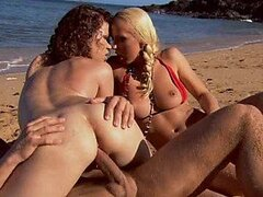 Cum Swapping Sluts Fucking The Lifeguard In The Beach