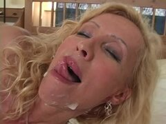Mature blonde Lenda Murray fucks a guy and enjoys cum on her face