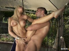 Blonde babe is a hot fuck and he goes for it with passion outside