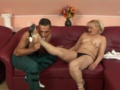 Blonde granny Pattie sucks a BBC before taking it in her snatch