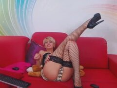 Hot Blonde Shemale Jerks off her Big Cock