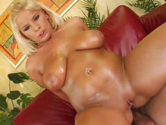 Glamorous blonde is swallowing tasty jizz