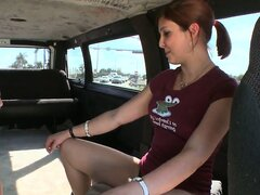 Sucking and fucking on their roadtrip, this redhead gets worn out